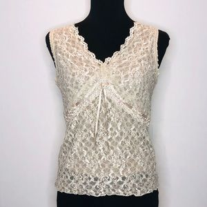 Lace overlay Dressy Tank Top.  069